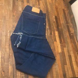 Zara high waist dropped hem Jeans